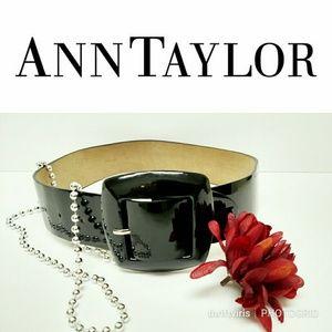 Ann Taylor Black Patent Leather Belt-Size XS